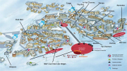 Val Thorens hotels, a resort map featuring the location of all the hotels in Val Thorens